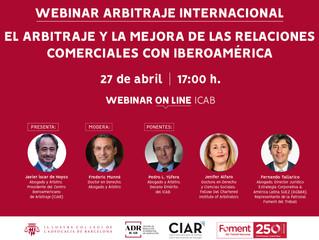Webinar del Colegio de Abogados de Barcelona y CIAR. Expondrá la Dra Jenifer Alfaro: