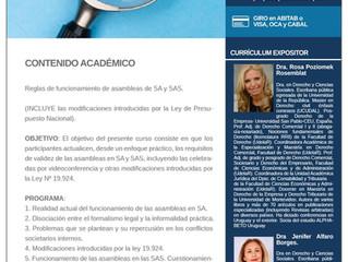 """Las Dras Poziomek y Alfaro dictarán en CADE un curso sobre """"Funcionamiento de Asambleas de SA y SAS"""""""