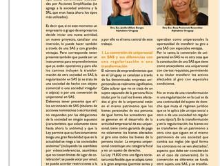 Articulo de las Dras Poziomek y Alfaro en la Revista de la Cámara oficial Española en Uruguay.