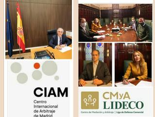 Suscripción del Convenio entre el CMy A de LIDECO y el Centro Internacional de Arbitraje de Madrid.