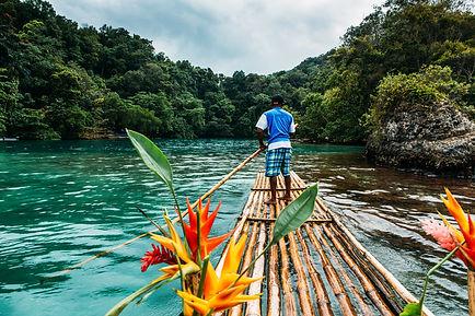 Bamboo ride in blue lagoon on Jamaica.j