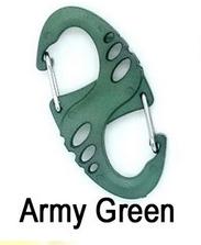 """Mosquetão em """"S"""", tipo chaveiro verde"""