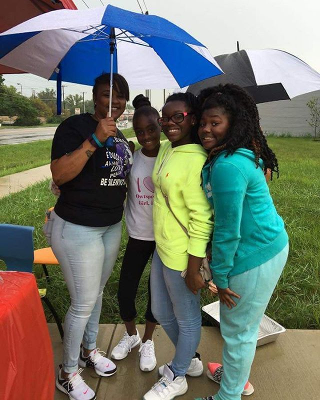 Out in the rain at the OWT Spoken Girls, Inc