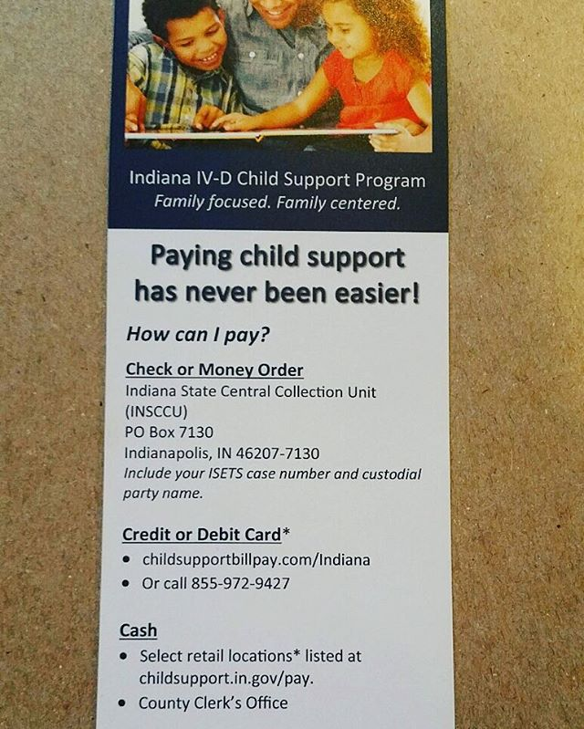 Options for Child Support payments in Indiana! #SilentNoMore #beaVoice #beHeard #beSilentNoMore