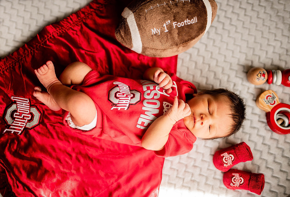 Ohio state themed baby toys and shoes