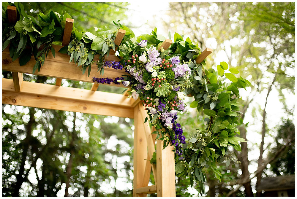 wedding arch of eucalyptus and succulents near cleveland, Ohio