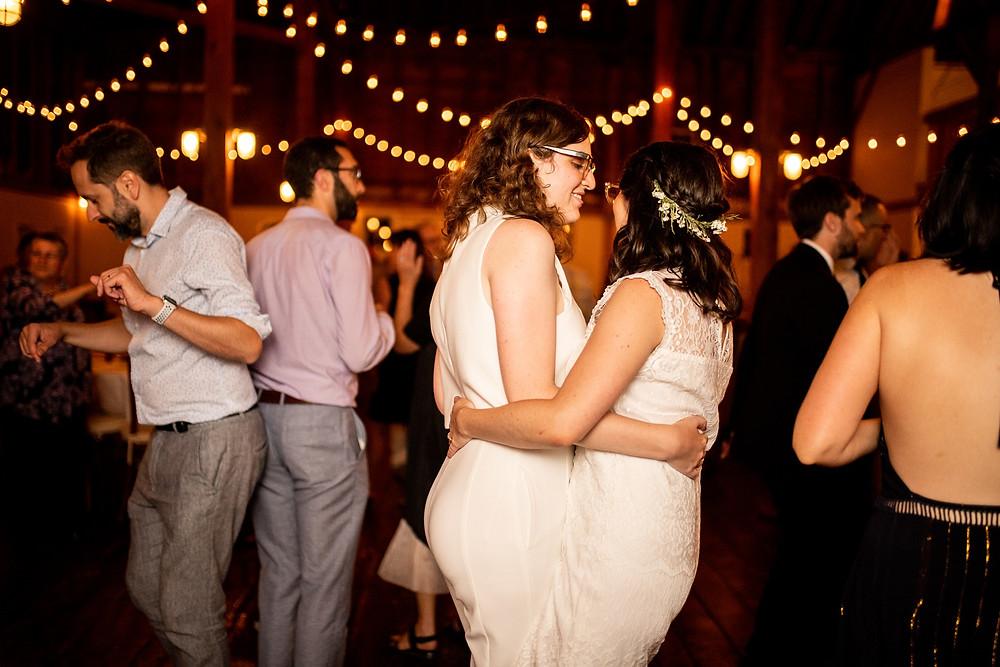 bride and bride during reception