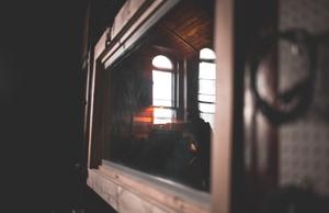 reflection of windows on studio wall