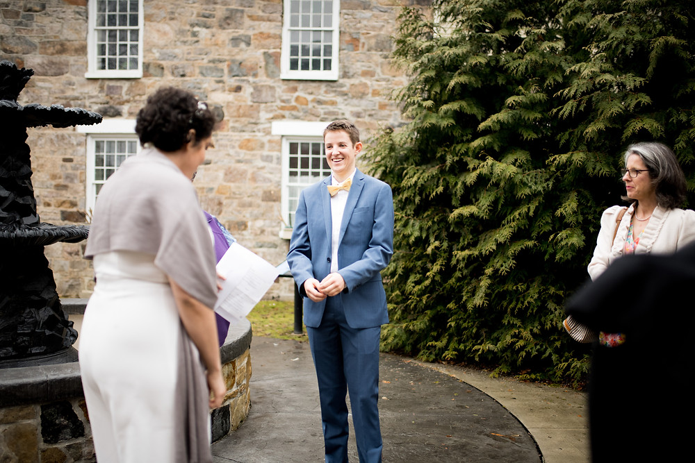 wedding ceremony outside near a fountain in Bennington, Vermont