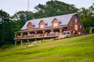 Mapleside Farms outdoor view of wedding guests on patio in Brunswick, OH