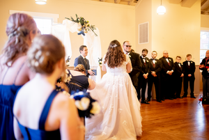 groom laughs during wedding ceremony in cleveland ohio