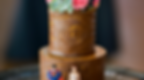 chocolate two tier wedding cake with succulents and superman cake