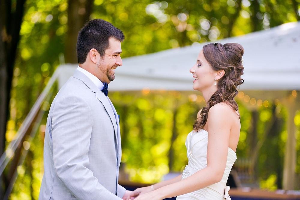 Bride and groom in backyard Cleveland, Ohio wedding