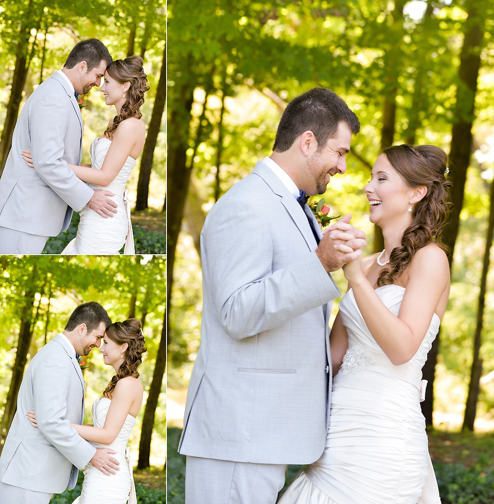 Bride and groom portraits in backyard wedding in Cleveland