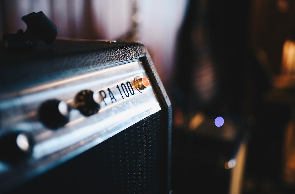guitar amp in low light