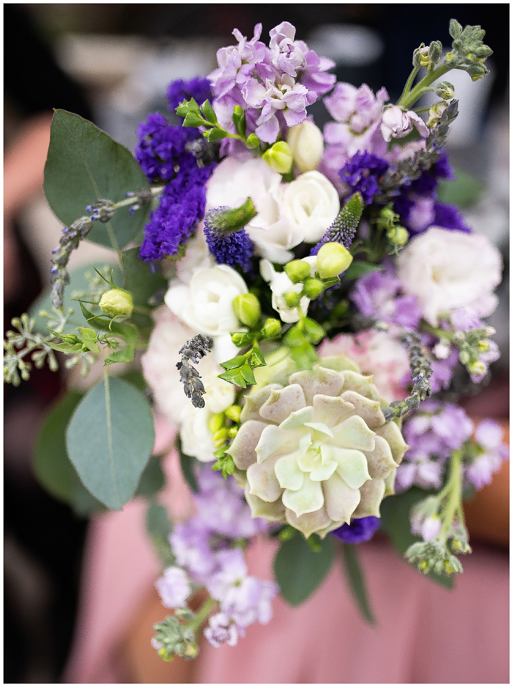purple bridal bouquet of snap dragons and succulents for a wedding near cleveland Ohio