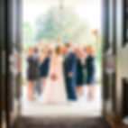 cleveland ohio bridal party cheering in a doorway