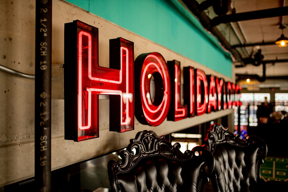 holiday lodge sign in the punch bowl social of cleveland ohio