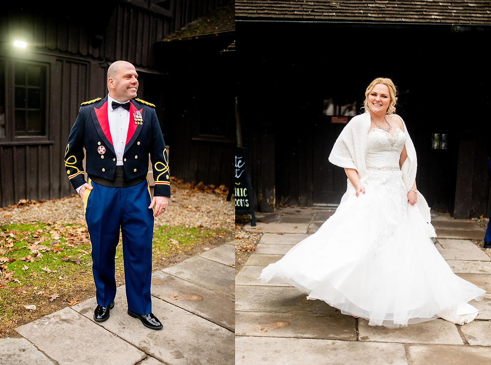 bride and groom portraits outside of the happy days lodge in peninsula Ohio