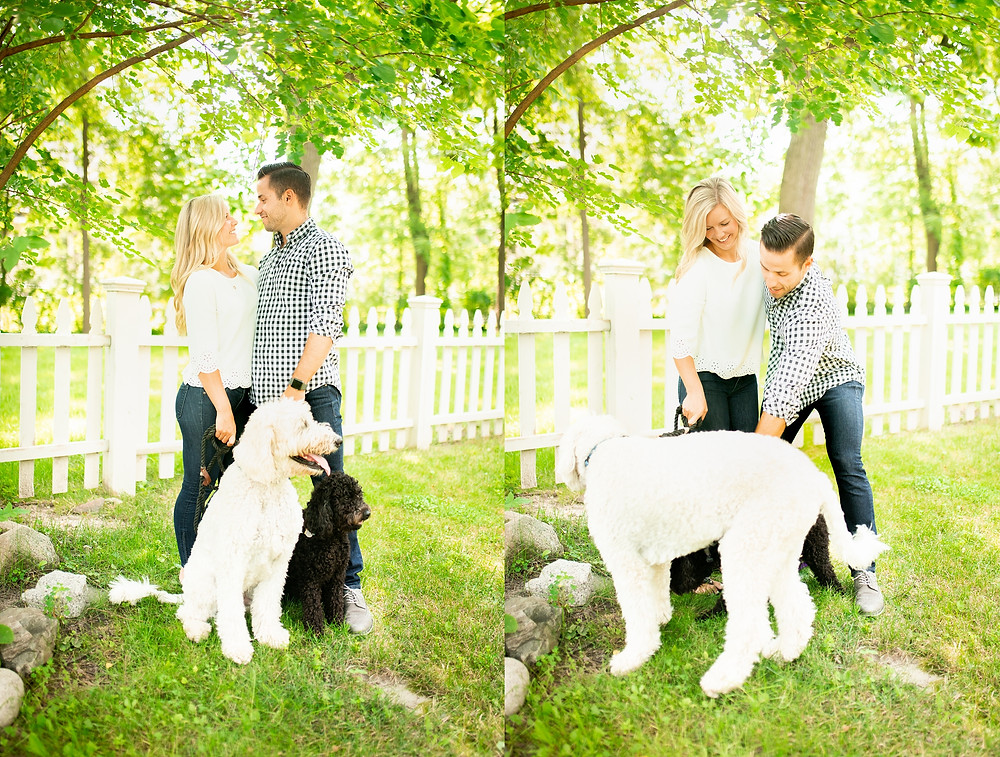 Man and woman stand with their goldendoodles in their yard near Peninsula, Ohio
