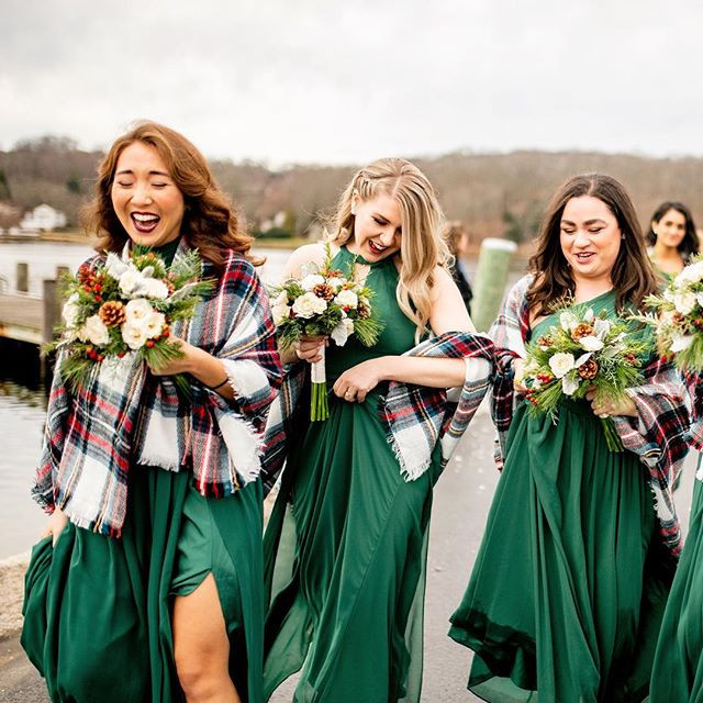 These emerald green, bridesmaid dresses