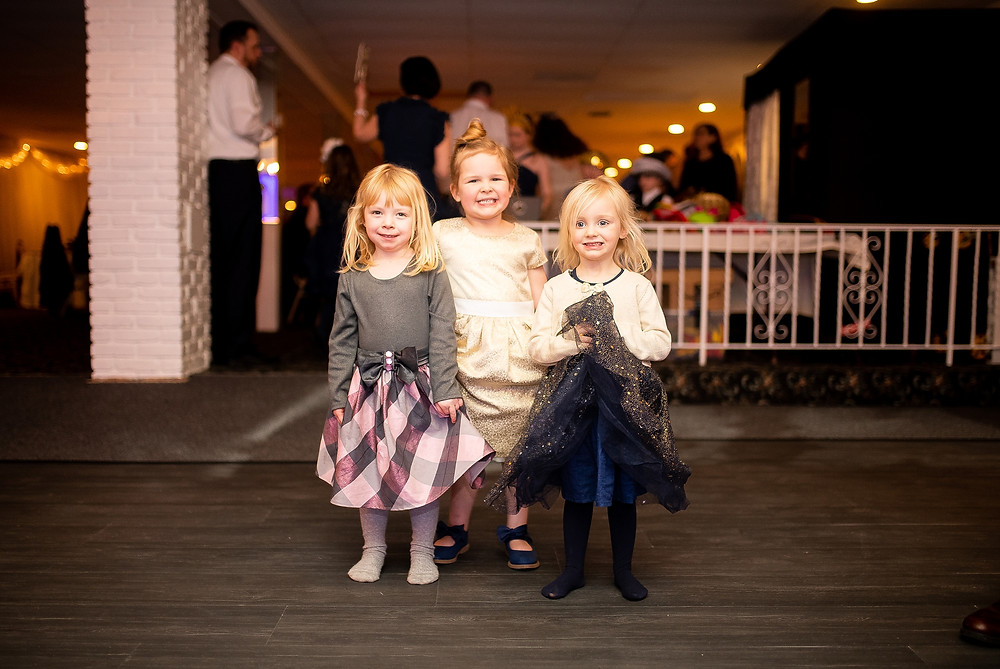 three little girls at wedding reception in strongsville ohio