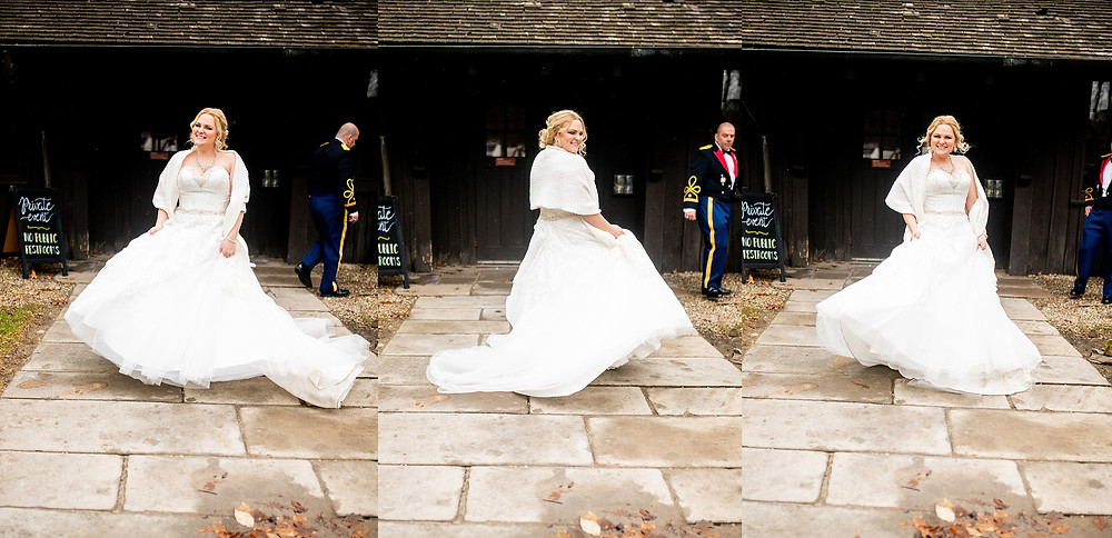 bride twirls in her wedding dress outside of the happy days lodge in cuyahoga valley national park