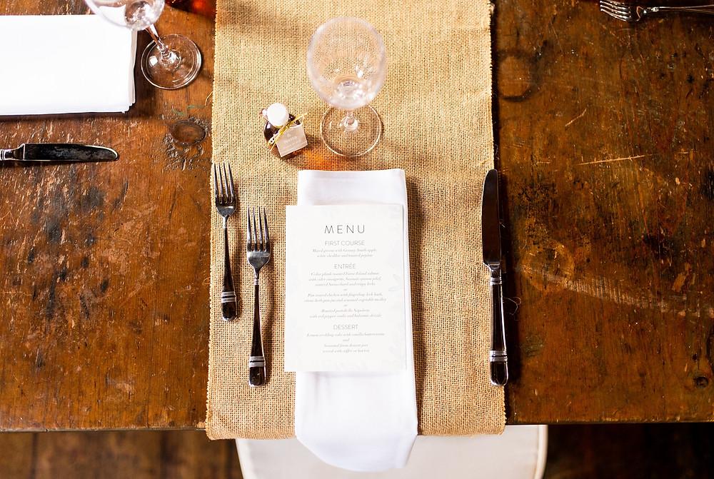 dinner menu for wedding at rustic venue