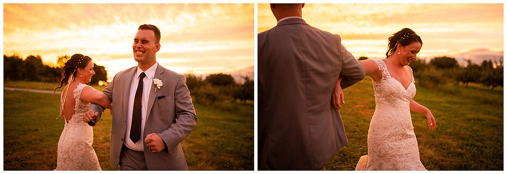 bride and groom dance and laugh during sunset at hillcrest fun farm in amherst Ohio
