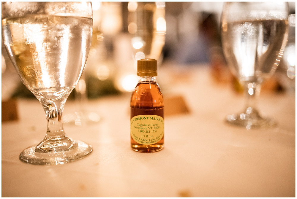 maple syrup favor on table