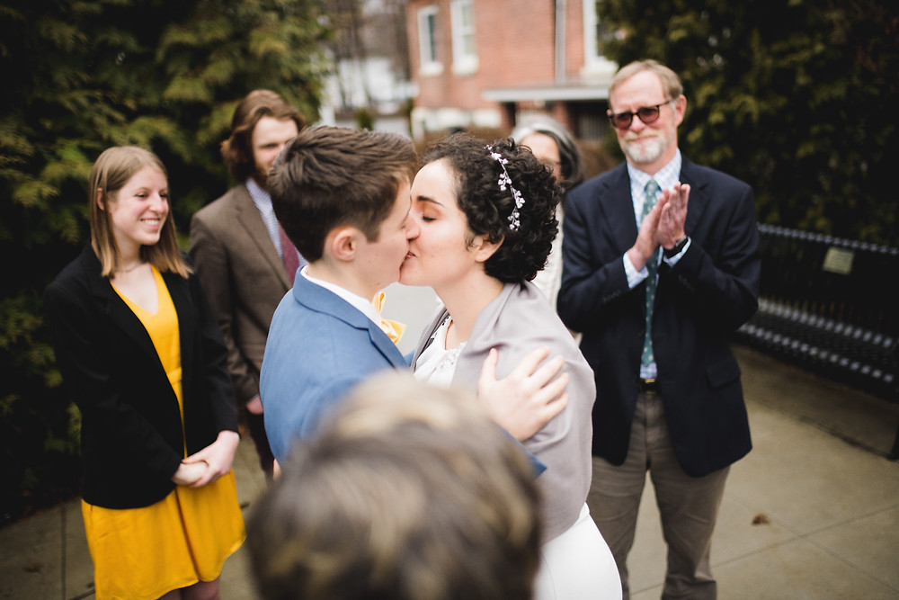 first kiss for brides at wedding ceremony