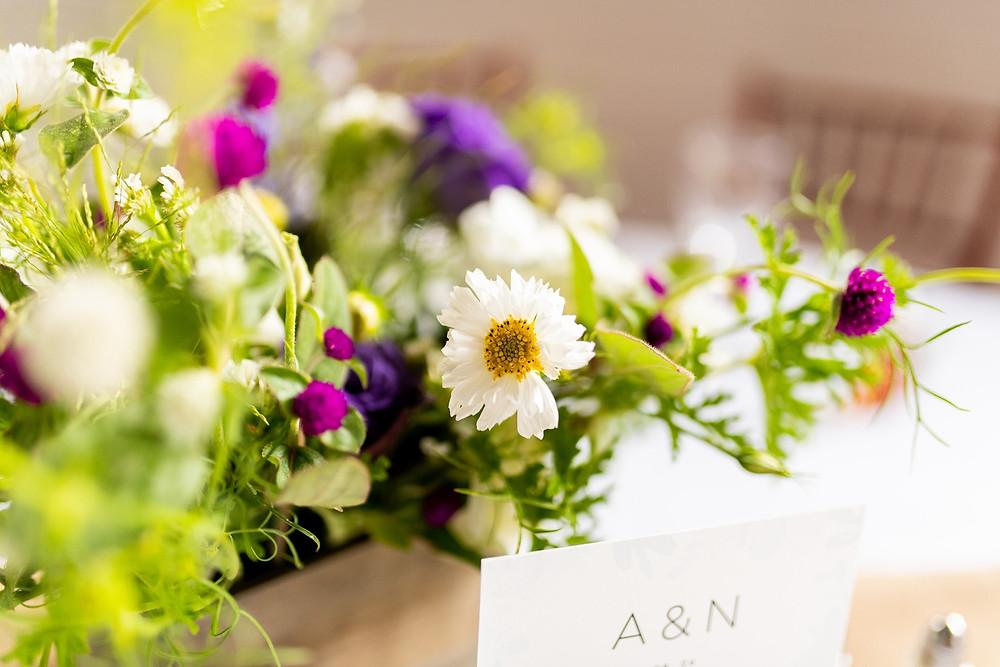 florals at wedding venue for rustic wedding