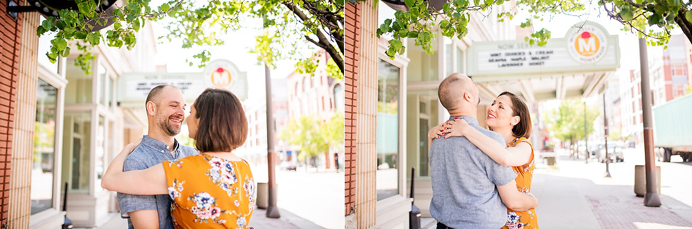 Man and wife slow dance under a tree near the Ohio City Mitchell's Ice Cream shop