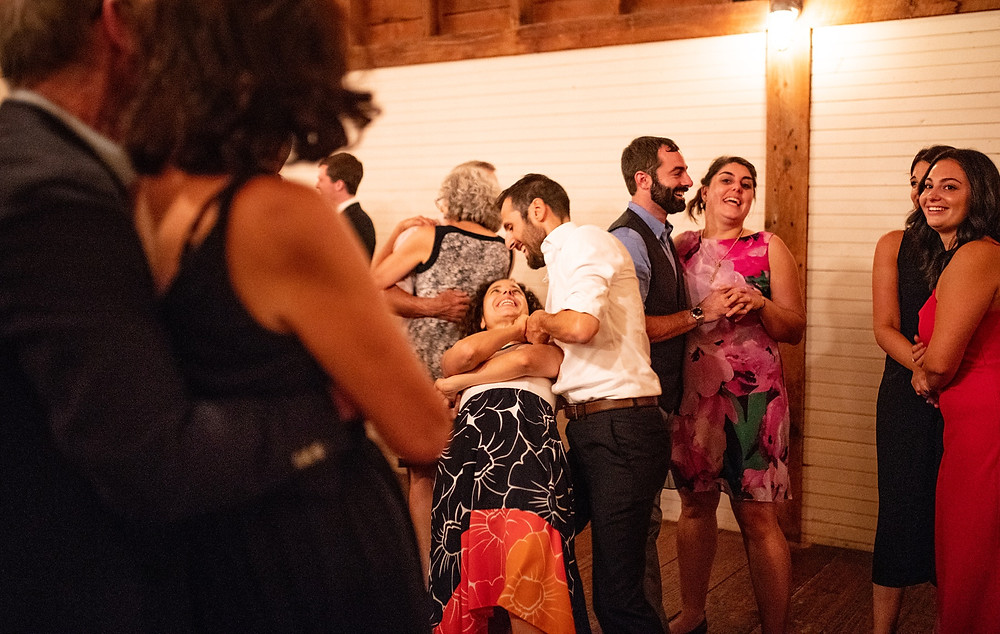 couple dips and dances during reception