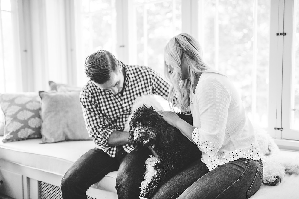 Man and woman sit and pet their goldendoodles during their engagement session in Hudson, Ohio