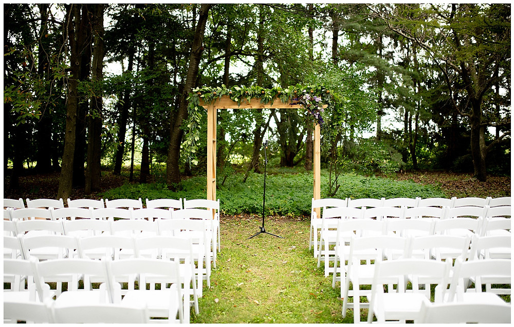 wedding arch and seating at wedding near cleveland, Ohio