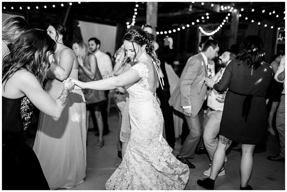 bride dances at wedding reception near cleveland Ohio