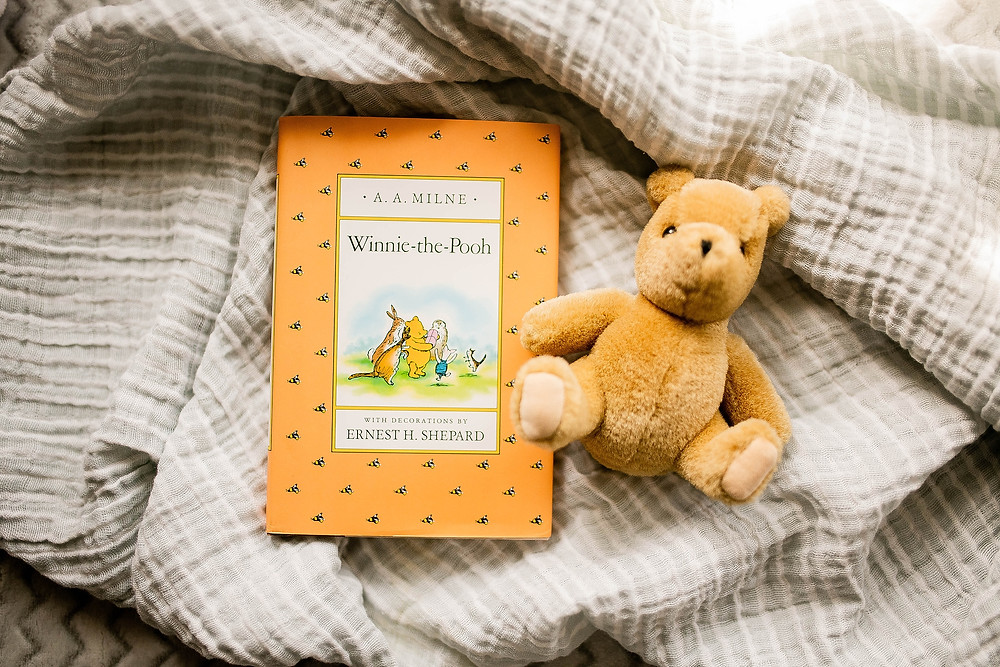 Winnie the pooh book and teddy bear props for newborn session in northeast Ohio