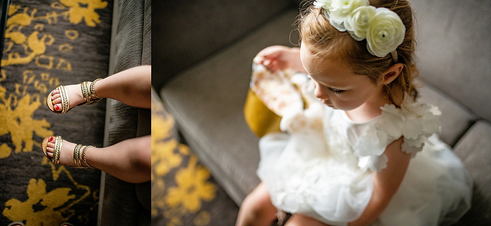 Little flower girl's gold shoes in cleveland Ohio