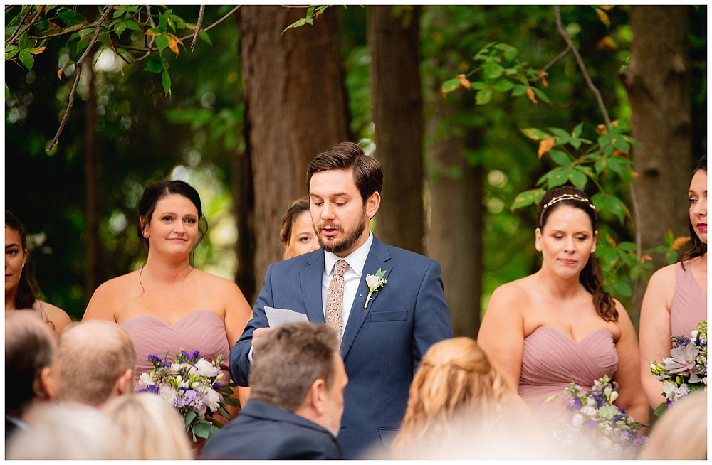 guest does a reading during wedding near amherst Ohio
