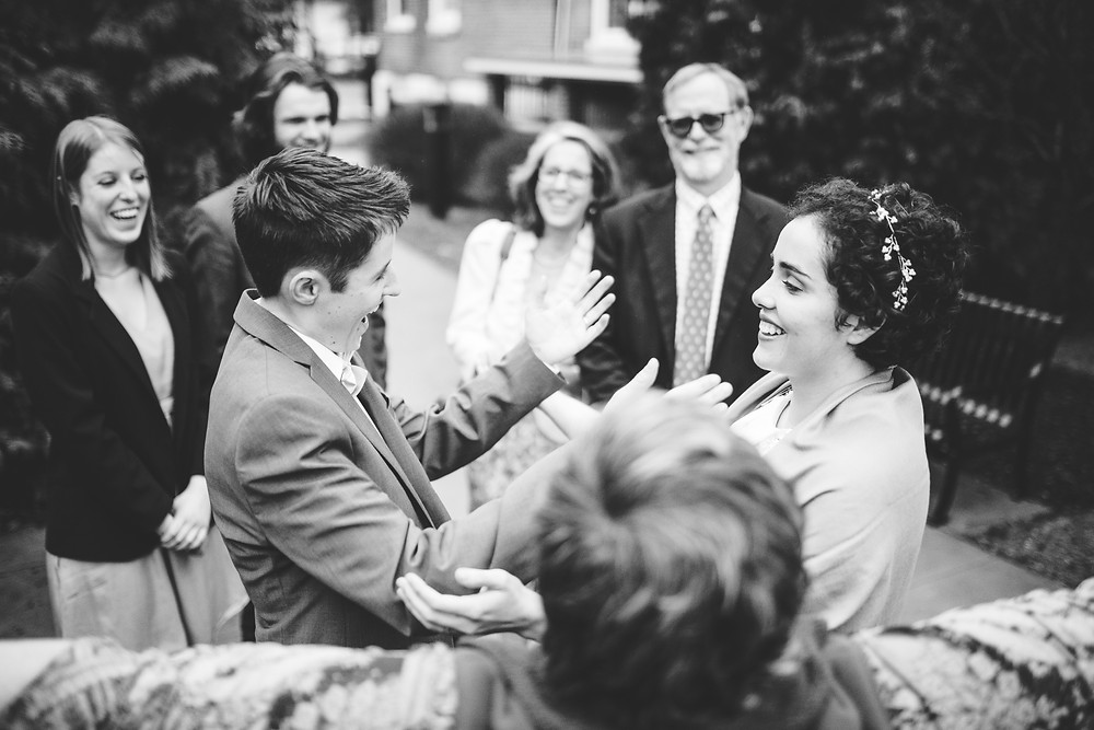 bride and bride rejoice after they are pronounced married