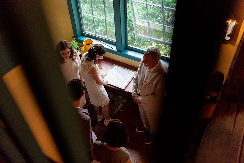 brides sign the ketubah on their wedding day