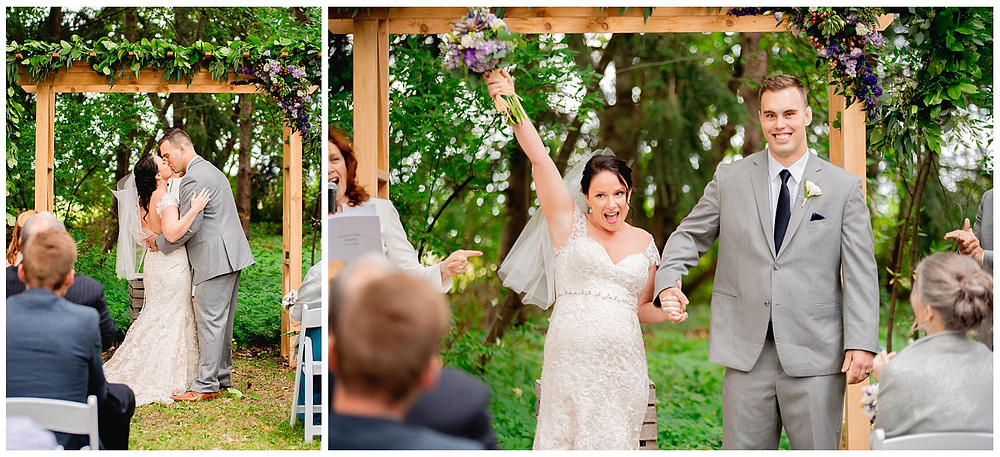 bride and groom kiss and celebrate after they are married near Amherst Ohio