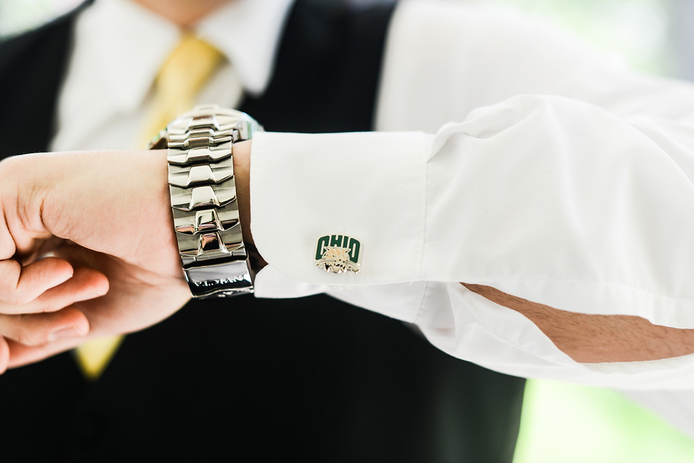 Ohio University cufflinks on groom in Olmsted Falls, Ohio
