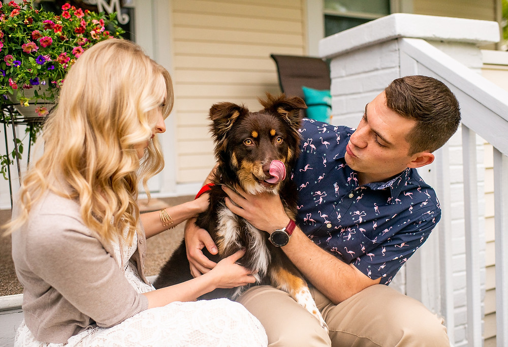 man and woman hold their aussie dog during an engagement session near cuyahoga falls ohio
