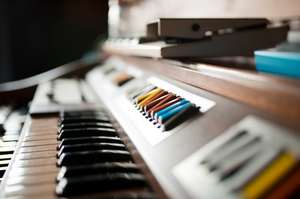 organ keys and buttons in studio light