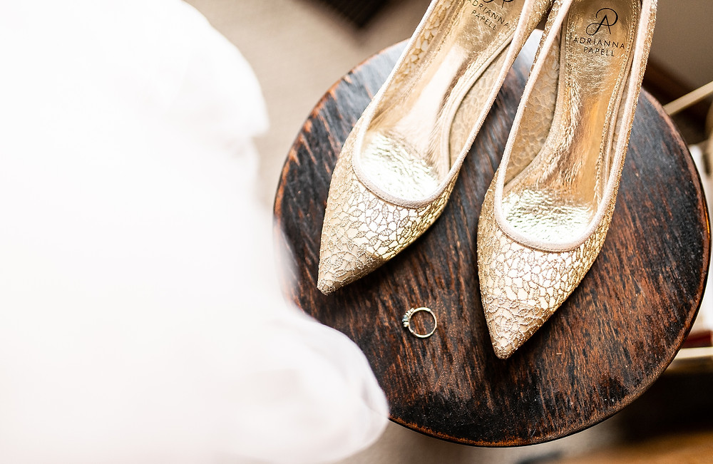 gold bridal shoes and wedding ring at cleveland ohio wedding