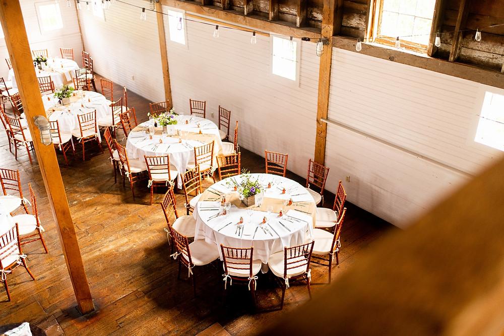 circular wedding tables in reception venue