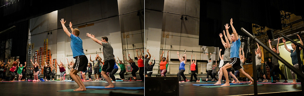 Yoga class in Cleveland, Ohio on a theater stage
