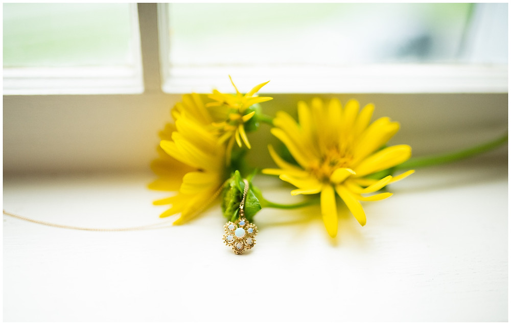 wedding jewelry with yellow flowers at quechee inn
